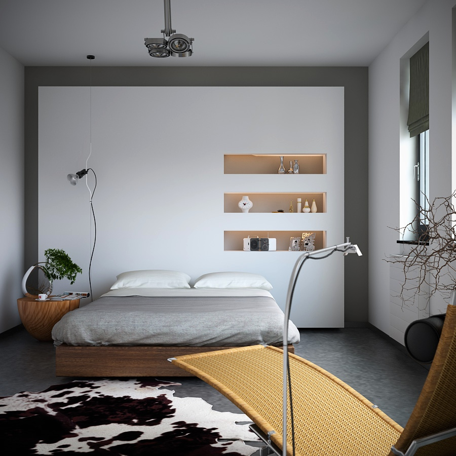 Organic-meets-industrial-bedroom-with-monochrome-cowhide-rug-storage-niches-and-earthy-styling